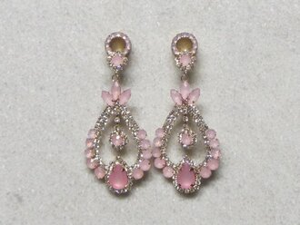 jewels ear plug rhinestones pink clear white silver dangle earrings gems gauge jewelry