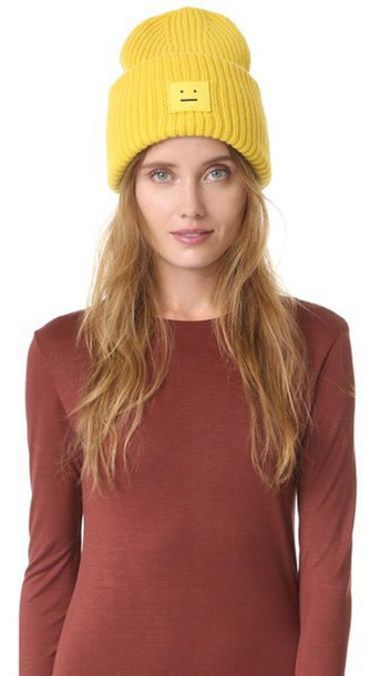 70398cf5d620 Acne Studios Pansy Wool Hat - Canary Yellow - Wheretoget