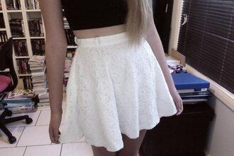 skirt crochet white fashion pale tumblr embroidered short skirt small