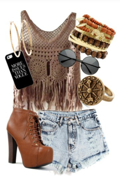boho chic High waisted shorts hippie chestnut boots lace up ankle boots combat boots adorable shoes fa