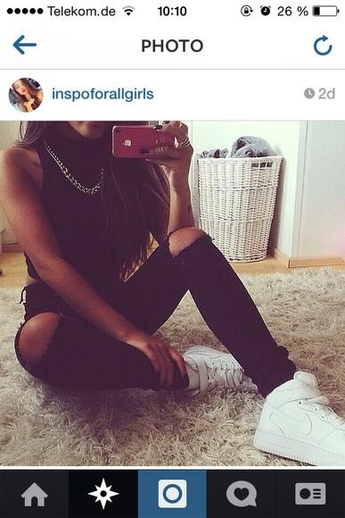 jeans holes black pants