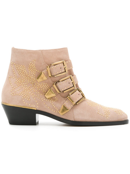 Chloe studded women booties leather nude suede shoes