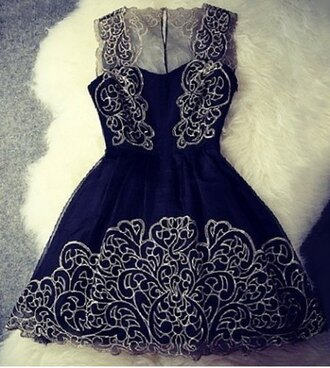 dress black gold embroidered short dress cute girly puffy dressy prom fancy