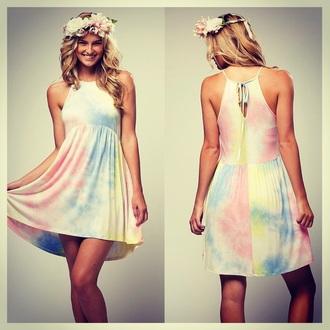 dress tye-dye dress halter dress rainbow spring