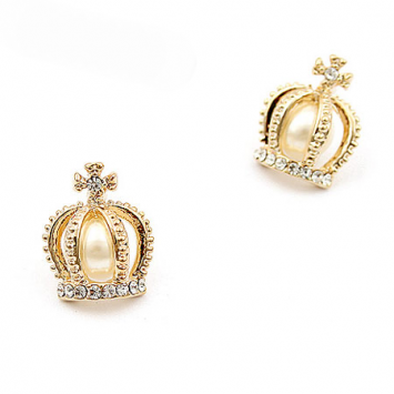 Pearl Inside Crown Design Rhinestone Embellished Fashion Earrings