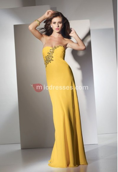 chiffon yellow floor strapless beading