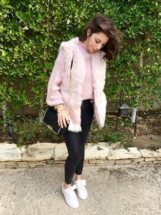 cost with me blogger jacket sweater pants shoes bag faux fur jacket faux fur vest shoulder bag sneakers pink sweater