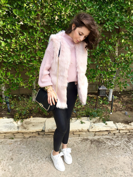cost with me blogger jacket sweater pants shoes bag faux fur jacket faux fur vest shoulder bag sneakers pink sweater