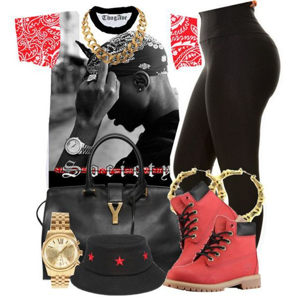 chain shoes bag tupac watch bandana print timberlands leggings