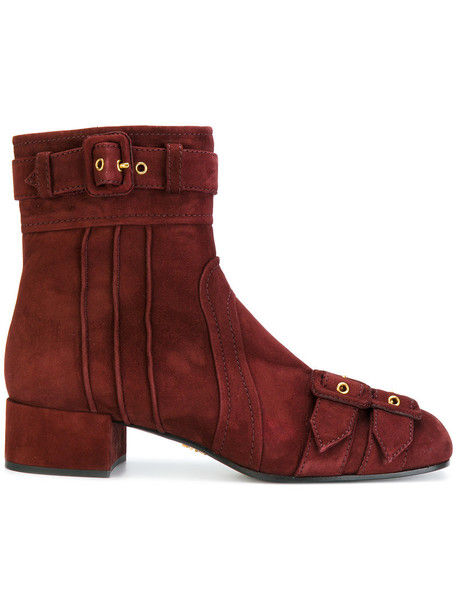 Prada women ankle boots leather suede red shoes