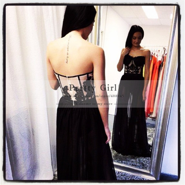 Aliexpress.com : buy vestido de festa super sexy see through black long prom dresses 2015 appliques backless formal evening gowns party dress cheap from reliable dress chevron suppliers on pretty girl trade co., ltd