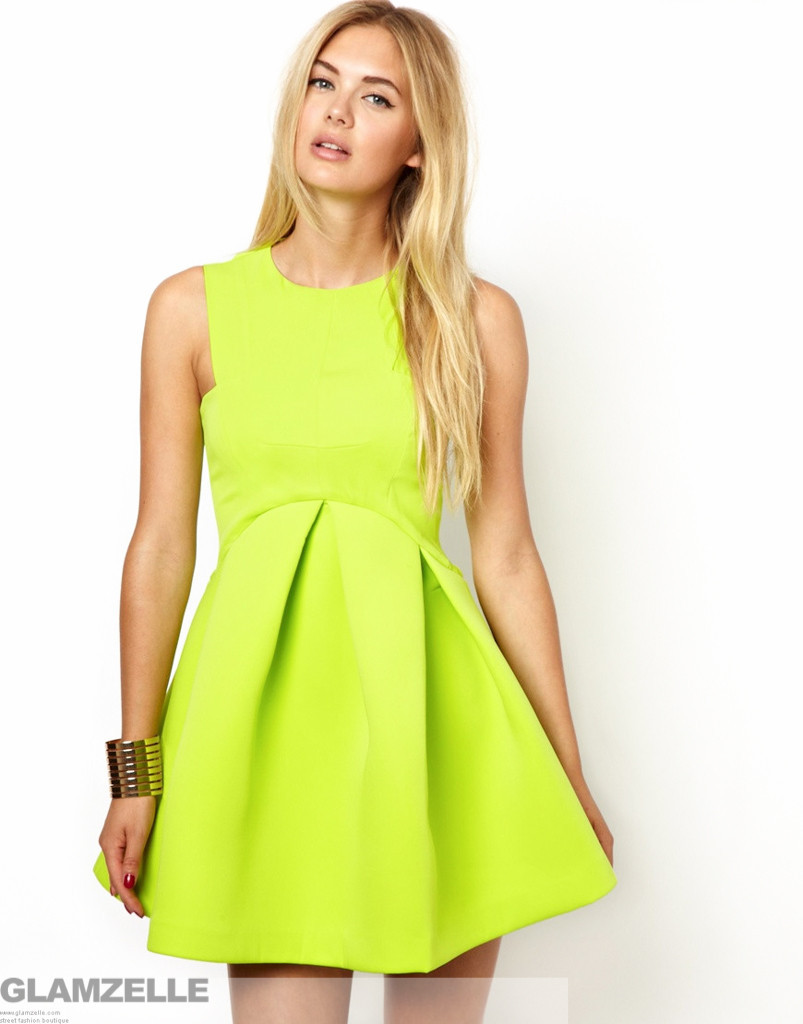 Chic neon major structured skater dress (2 colors available)