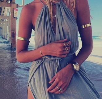 dress jewels beach dress boho boho chic flowy dress bohemian dress bohemian beachy dress gold jewelry bracelets gold bracelet arm bracelet gold arm cuff maxi dress casual maxi dress jewelry boho jewelry minimalist jewelry silver jewelry hand jewelry gold ring silver ring knuckle ring