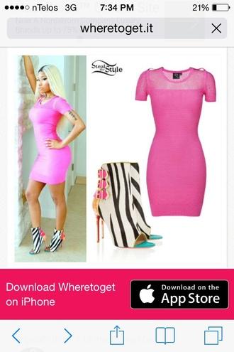 shoes nicki minaj heels zebra print pink heels