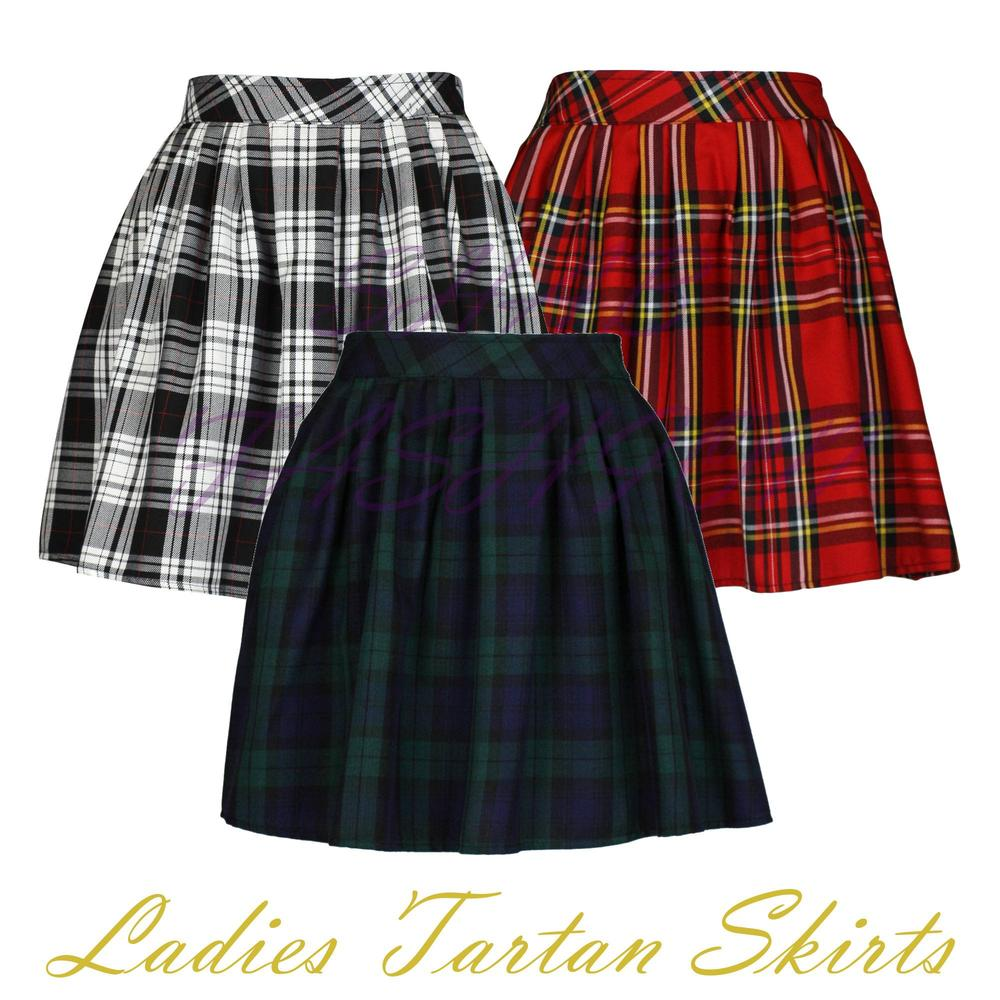e7cb5ff33cf1 Ladies/Womens Elasticated Waist Tartan Skater Skirt