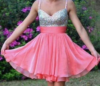 dress pink dress sequins semi formal