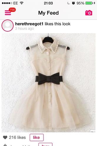 dress nice pretty fashion style white dress mini dress cream dress belted dress cute dress black bow