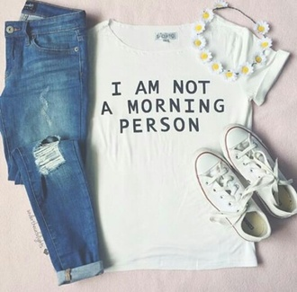 t-shirt i'm not a morning person jewels jeans leggings