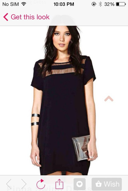 dress chic elegant black dress transparent tunic dress