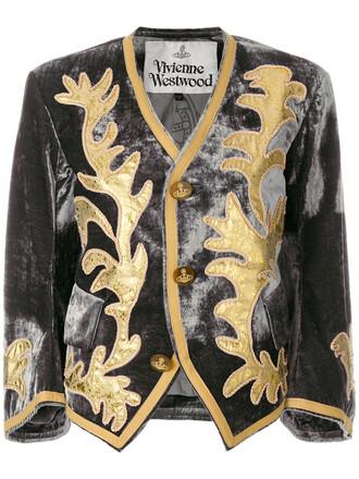 jacket cropped women cotton silk grey