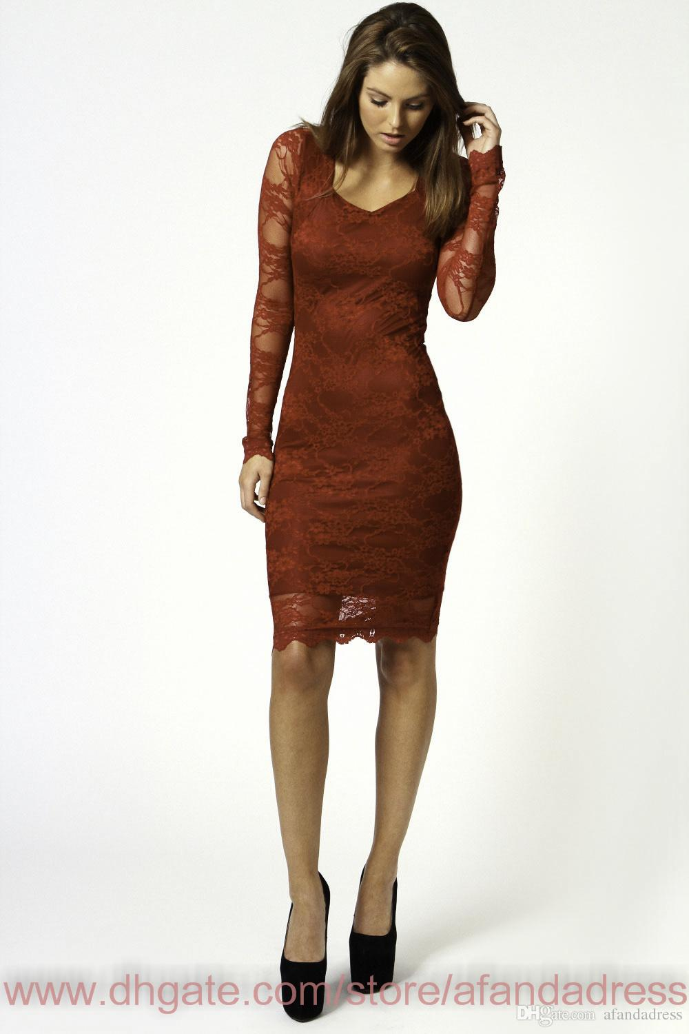 Cocktail Dresses - Buy Burgundy Sheath Cocktail Dresses Sexy Red ...