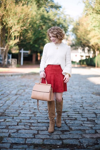 something delightful blogger sweater skirt shoes bag jewels fall outfits red skirt boots knee high boots white sweater handbag