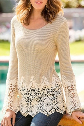 sweater beige nude lace fashion style long sleeves white embroidered cute trendy fall outfits clothes