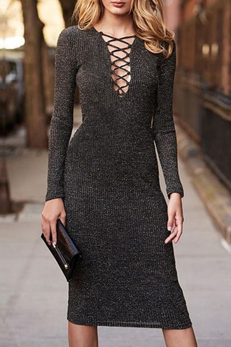 dress zaful sweater dress grey dress long sleeve dress grey long sleeve dress long dress grey long dress lace up v neck long sleeves sweater grey brown winter outfits fall outfits