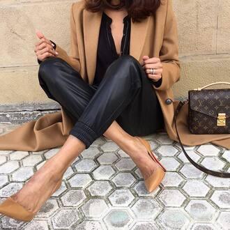 pants tumblr black leather pants leather pants black pants camel coat camel bag louis vuitton bag louis vuitton pumps pointed toe pumps high heel pumps nude heels top black top
