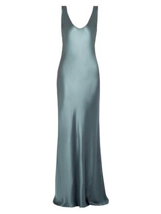 gown sleeveless silk satin light grey dress