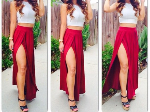 Underwear: red skirt, with a white top, slit maxi skirt - Wheretoget