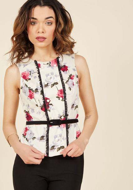 6585 blouse top floral top bunny lace floral black black lace white