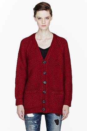 Dsquared2 Burgundy Oversize Knit Wool Cardigan for women | SSENSE