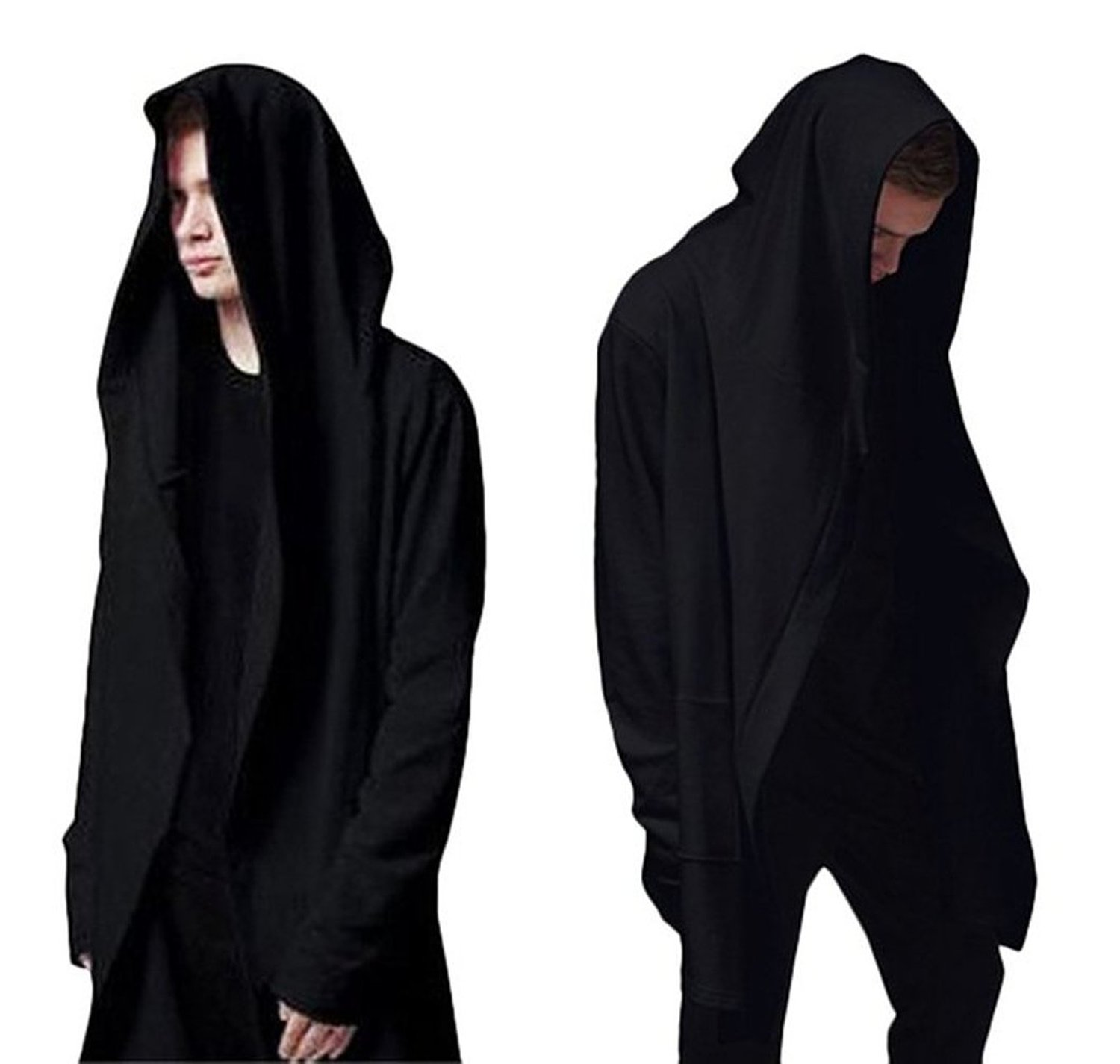 com: Rising-Sun Men's Casual Cardigan Cloak Hooded Hoodie with ...