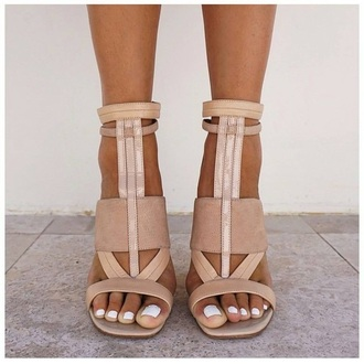 shoes camel white brown strappy heels sandals high heels