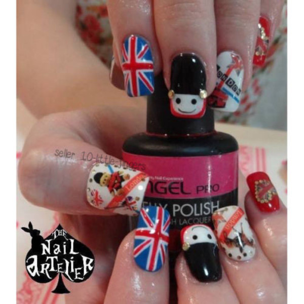nail accessories decoration nails nail art manicure pedicure stripes london england flag bear