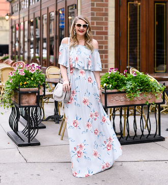 visions of vogue blogger dress bag shoes sunglasses jewels make-up shoulder bag maxi dress blue dress floral dress