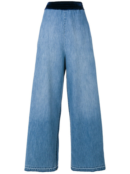 jeans women cotton blue silk