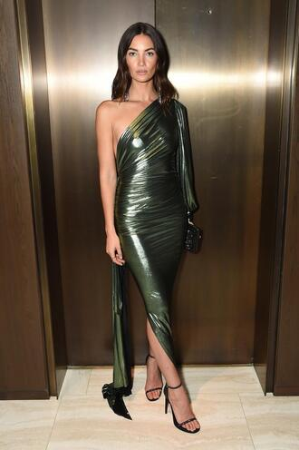 dress gown prom dress lily aldridge model off-duty asymmetrical nyfw 2017 ny fashion week 2017 saint laurent sandals shoes