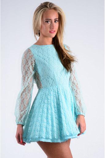 Ladies Inez Pleated Lace Dress in Aqua | Pop Couture