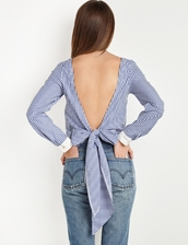 top,open back tie striped top,open back,open back top,open back shirt,backless top,backless dress,pixie market,striped shirt,open back with long tie,bow tie back,long back tie,back tie,casual shirt,open back dresses,backless,striped top,stripes,korean fashion,celebrity style,business casual