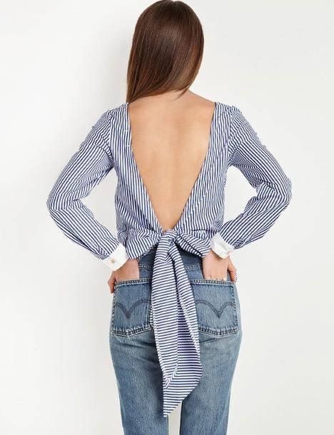 e1ad31bbea3937 top, open back tie striped top, open back, open back top, open back ...