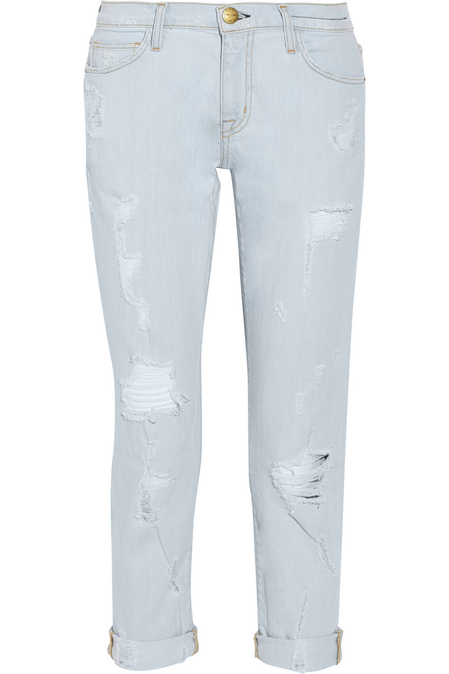 Current/Elliott The Fling distressed mid-rise straight leg jeans – 50% at THE OUTNET.COM