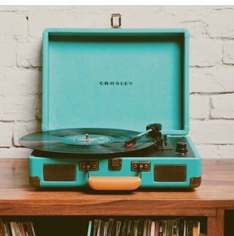 home accessory blue tumblr music record player turquoise hipster
