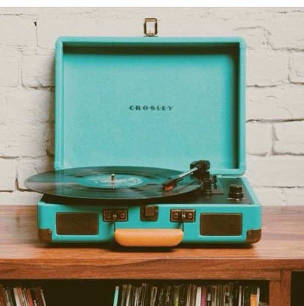 Home accessory: blue, tumblr, music, record player, turquoise, hipster - Wheretoget