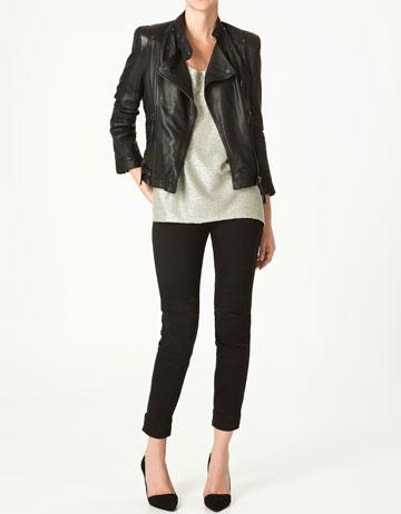 Zara chaqueta cuero negra mujer
