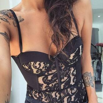 top clothes corset corset top lace lace top black bra top