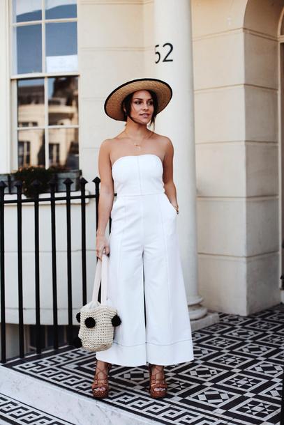 ea498fec41fe jumpsuit hat tumblr white jumpsuit cropped jumpsuit sun hat straw hat bag  pom poms sandals wedges
