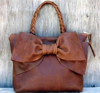 bag leather bag brown leather bow bows braid country