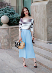 top,tumblr,blue top,off the shoulder,off the shoulder top,stripes,striped top,culottes,pants,blue pants,sandals,sandal heels,bag,basket bag